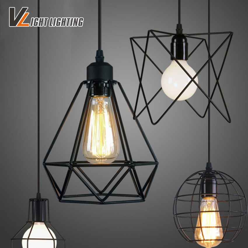 Vintage indoor lighting Retro iron painted pendant light 16 Variety iron cage lampshade  American Country style light fixture led lamp creative lights fabric lampshade painting chandelier iron vintage chandeliers american style indoor lighting fixture