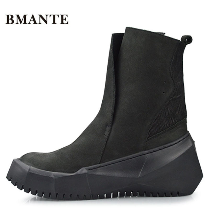 Cow suede Real genuine male black tide Motorcycle boot bot street style Bootie Platform elevator Thick low Harajuku shoe for men