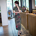 Shanghai Story long traditional chinese dress oriental styled dresses estido tradicional Faux Silk Qipao Chinese Cheongsam