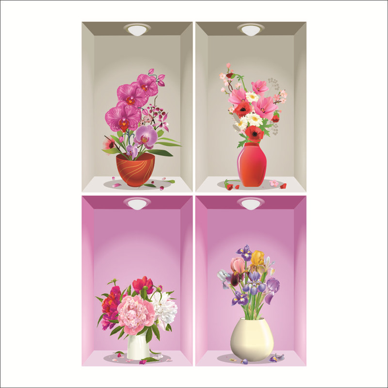 Flower Vase Wall Stickers 3d Floral Wall Decals For Bedroom Living