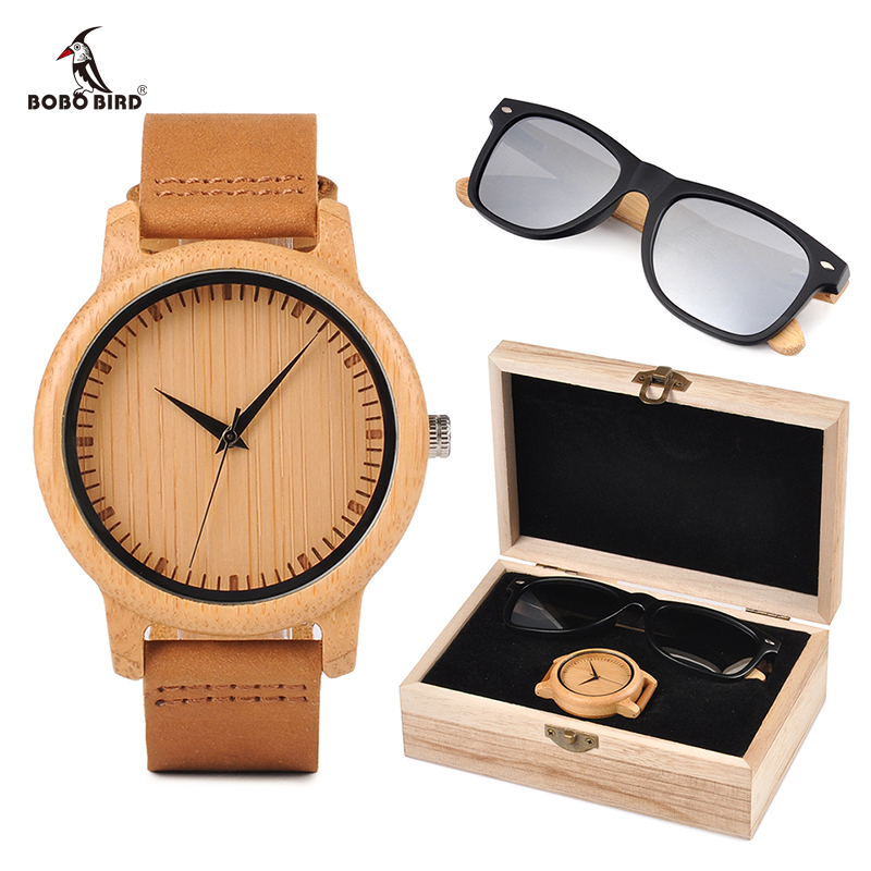 Relogio Masculino BOBO BORD Bamboo Men Watch Wooden Sunglasses Suit Present Box Gift Set Women Watches Accept LOGO Drop Shiping