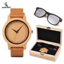 Reloj masculino BOBO BORD de bambú reloj de los hombres, gafas de sol de madera de regalo Set de regalo las mujeres relojes aceptar LOGO envío de la gota
