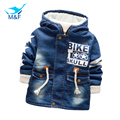 New 100% Warm Boy/Girl Winter Denim Jacket Coat 2016 Thicken Boys Goose Down Parka Kids Hooded Winter Outerwear Children Clothes