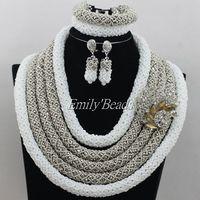 Fashion African Wedding Crystal Beads Big Nigerian Costume Jewelry Set Bridal Necklaces Jewelry Set Fuchsia Free Shipping AMJ937