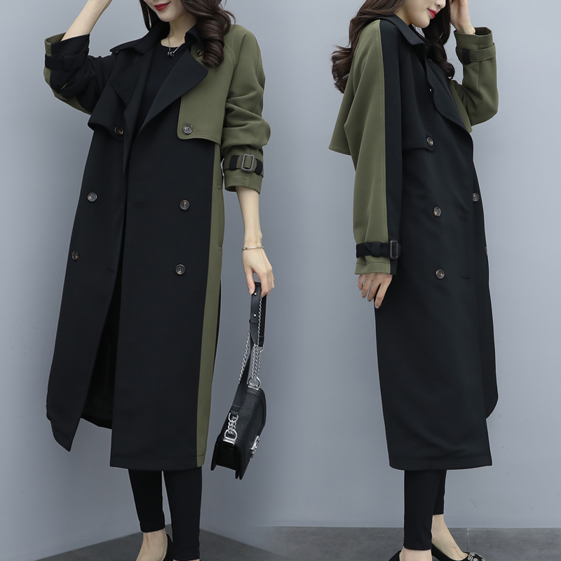 2019 Autumn Winter Women's Long Vintage Patchwork   Trench   Coat Army Green Safari Style Female Windbreaker With Belt Outwear