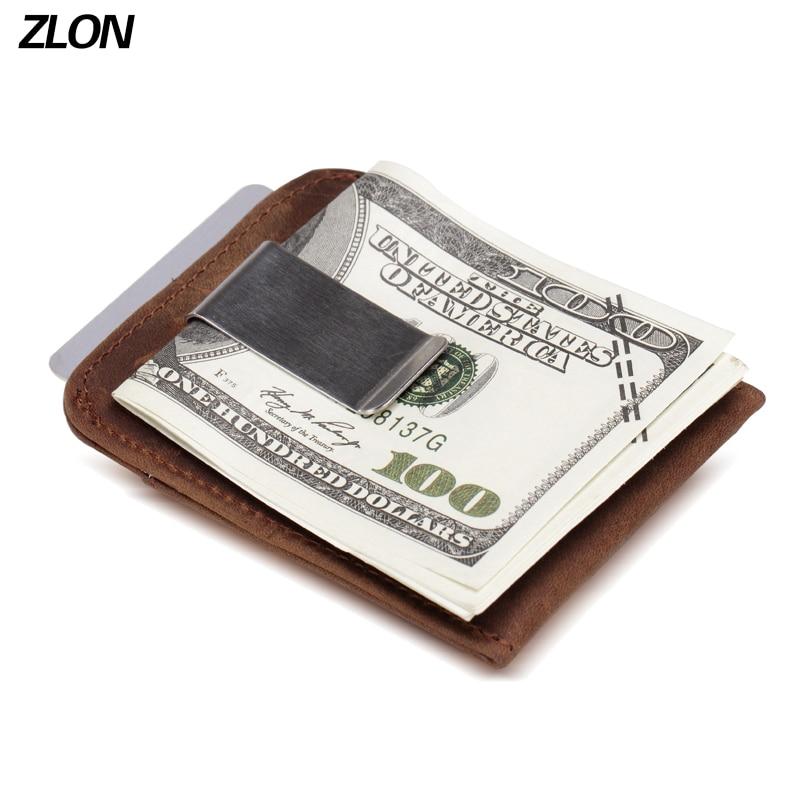 ZLON RFID Unisex Crazy Horse әдемі былғары фашаом әмиян бизнес кредиттік карточкасы иегері күшті магниті бар ақша Клип K105