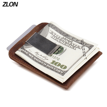 ZLON RFID Unisex Crazy Horse Genuine Leather Fashiom Wallet Business Credit Card ID Holder With Strong Magnet Money Clip K105 цена