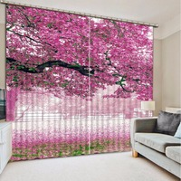 Modern Window Blackout Curtains Fashion Printed Curtains For Bedroom purple tree scenery Kitchen Curtains For Living Room