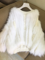 Мех животных пальто Меховая куртка жилет лиса пальто бросился полный О образным вырезом 2018 новый свитер коса волос мода тканые кожи головы