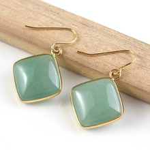 YGB 1Pair  18 K Gold square Green Aventurine cabochon Earrings Charm Jewelry womens earring
