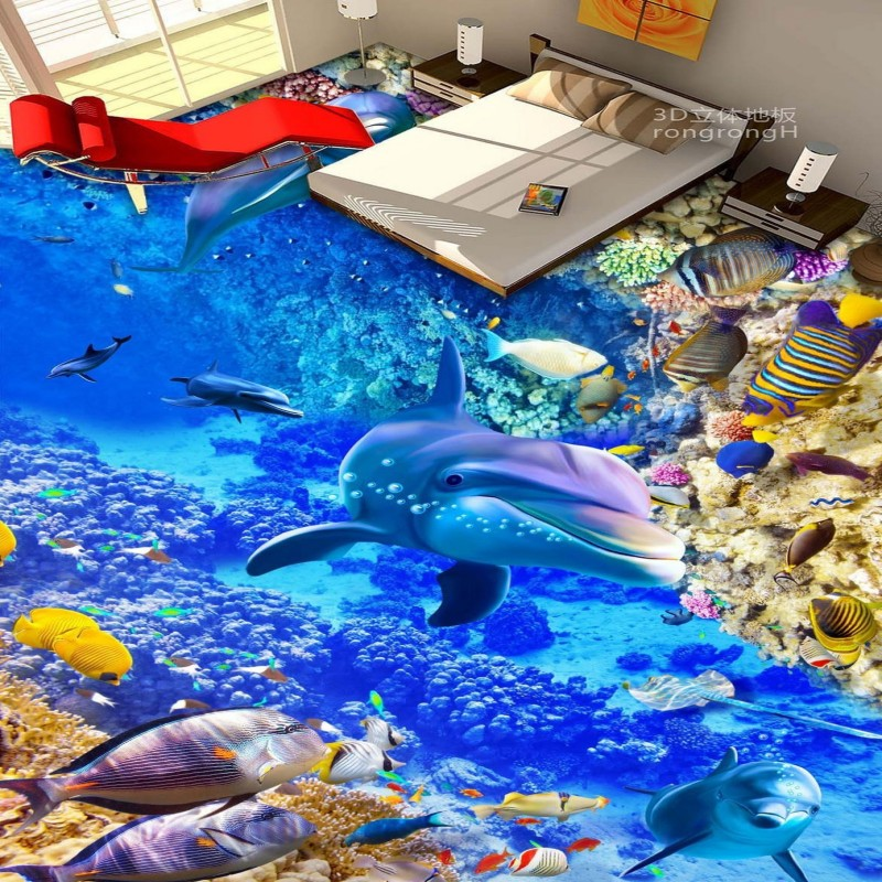 Free Shipping waterproof self-adhesive floor mural Sea World Dolphin Coral 3D bathroom floor wallpaper