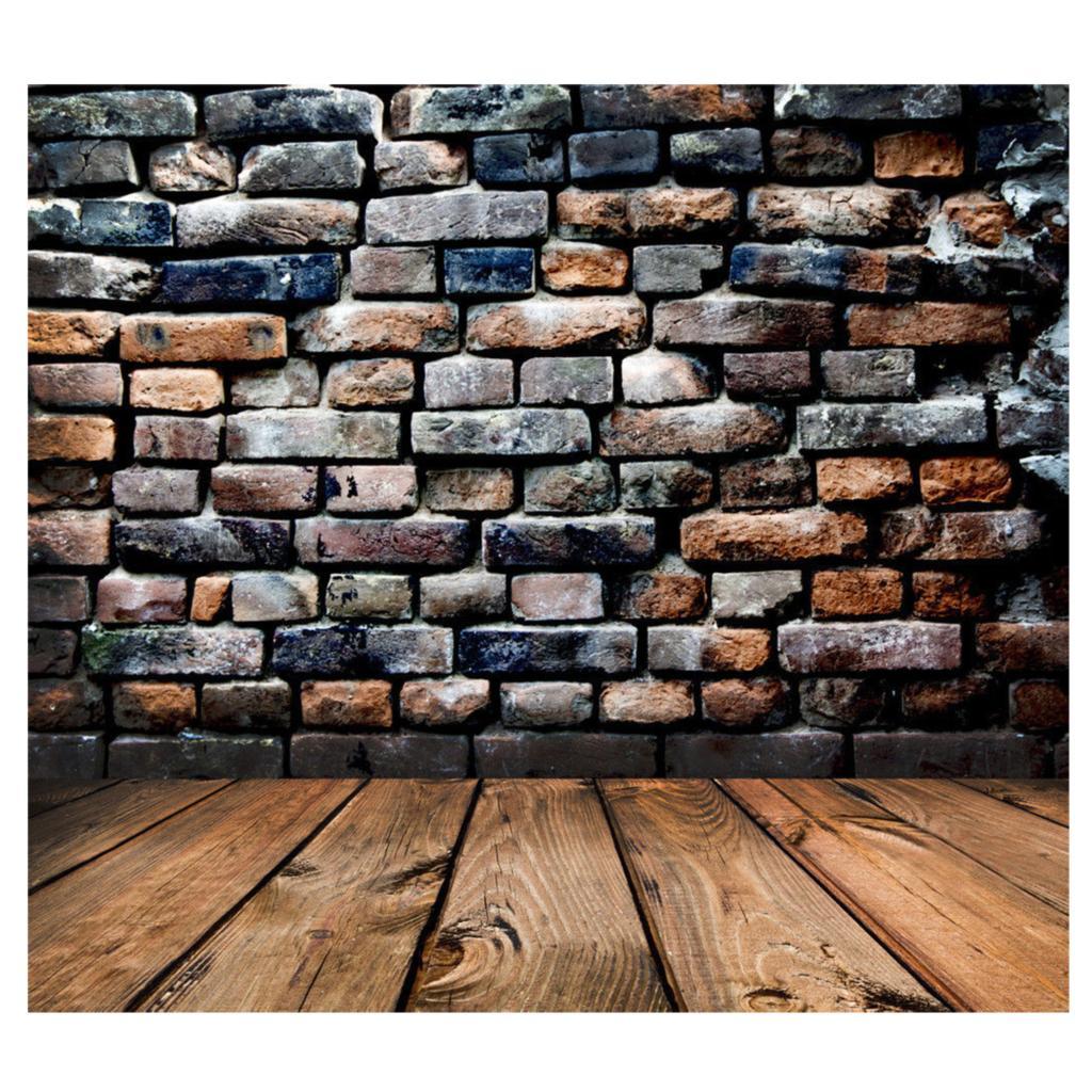 Meilleures Offres Rétro Vinyle Photographie Toile de Fond Mur de Briques Plancher de Bois Fond Photo Studio Accessoires 5 * 7FT