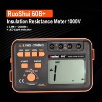 RuoShui 60B+ 1000V Digital Auto Range Insulation Resistance Meter Tester Megohmmeter Megger High Voltage LED Indication