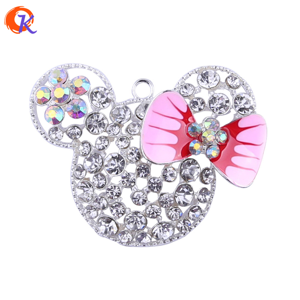 52*38MM 10pcs/lot Rhinestone Pendant Bubblegum Necklace Classic Silver With Pink Bow Mouse Pendant Fashion Jewelry CDRP-503755