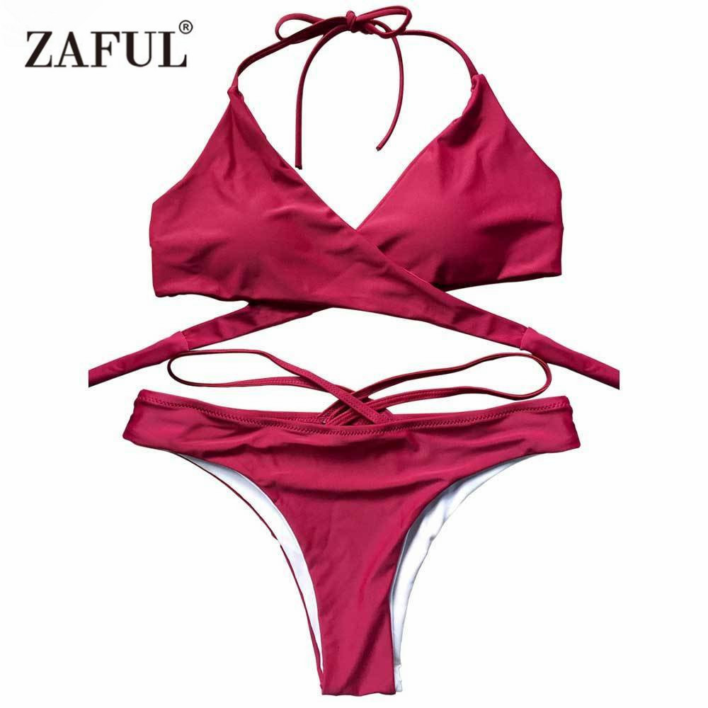 Zaful Sexy Bikini Double Side Crossover Halter Bikini Set Backless Push up swimsuit Women summer beach brazilian bikini 2016 halter push up sexy bikini set women brazilian tie at back summer beach sporty swimsuit strappy candy colors fardas 81614