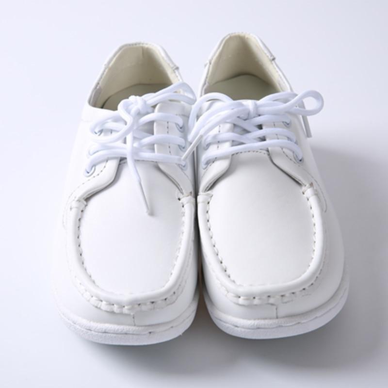 Shenn Mujer Cu?a Comodidad Ponerse Enfermera Cuero Zapatos H3355 (Blanco, EU35.5)