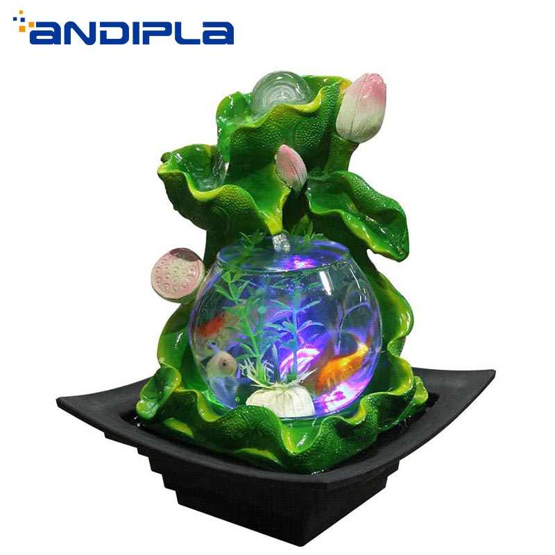 110 240V Lotus Feng Shui Ornaments LED Crystal Ball Water Fountain Glass Fish Tank Lucky Flower Pot Bonsai Wedding Home Decor
