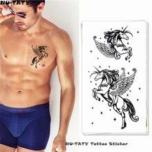 Nu-TATY Sexy Black Pegasus Temporary Tattoo Body Art Arm Flash Tattoo Stickers 17*10cm Waterproof Fake Henna Painless Tattoo