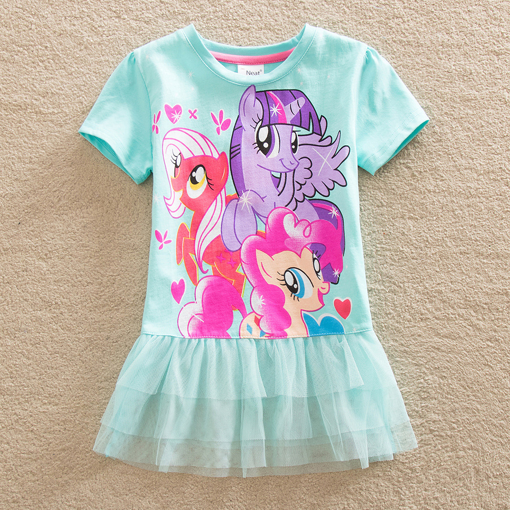 Summer Short Sleeve My Little Poni Dress For Kids Girls