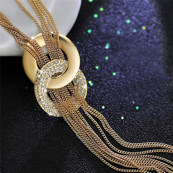 Hot Sale! Female Sweater Accessories Round Circle Long Tassel Simple Style Shiny Gold Silver Color High Quality Chain Necklaces 1