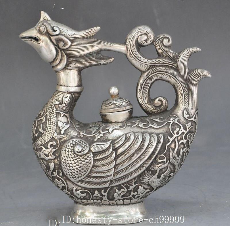 Artisanat statue marqué vieux chinois argent Dragon Phoenix statue vin Pot Flagon théière bouilloire halloween