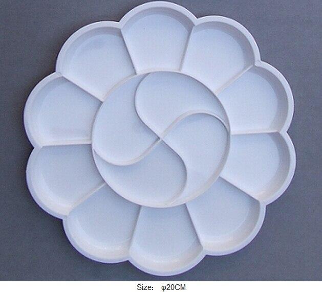 Artist Watercolor Acrylic Paint 14 Holes White Tray Palettes Flower Shape