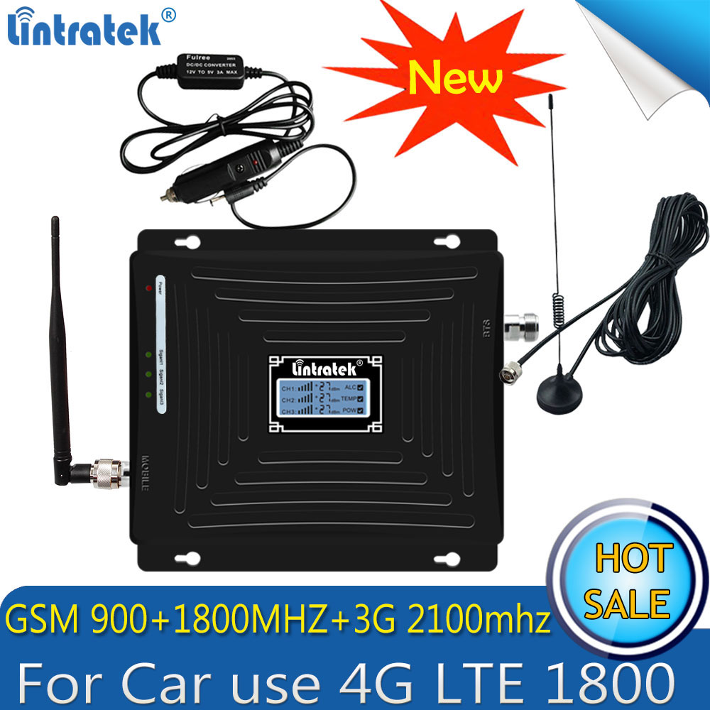 Lintratek Car Use Repeater Tri Band GSM 900 WCDMA 2100 LTE 1800 2G 3G 4G Signal