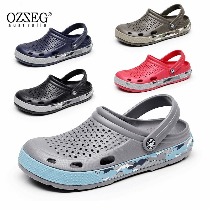 2018 OZZEG Summer lover Unisex Hole Hollow Sandals Mules Footwear Couple Shoe men Anti-skid Beach Flats Casual Shoes Sandalias