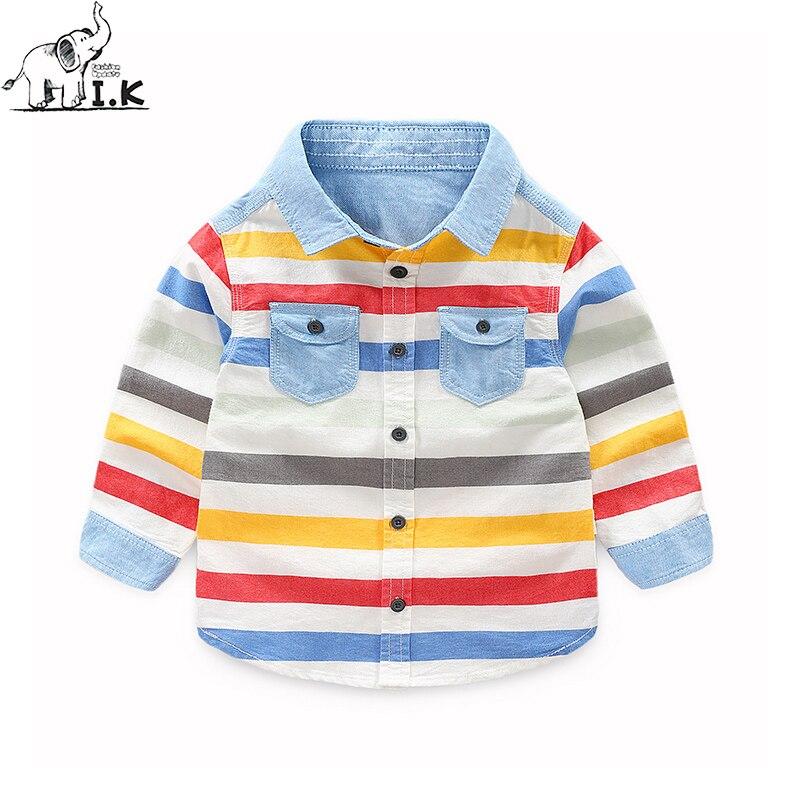 Shirts Sonnig I.k Infant Jungen Jeans Striped Fashion Shirt Baby Kinder Denim Top Infant Casual Bluse Kinder Top Cc26008 Herbst Frühling 2018 Jungen Kleidung