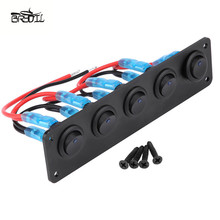 ABS Waterproof 5 Gang Blue LED Rocker ON/OFF Switch Panel With Screws For Car Marine Boat RV Caravans Trailers Yachts цена