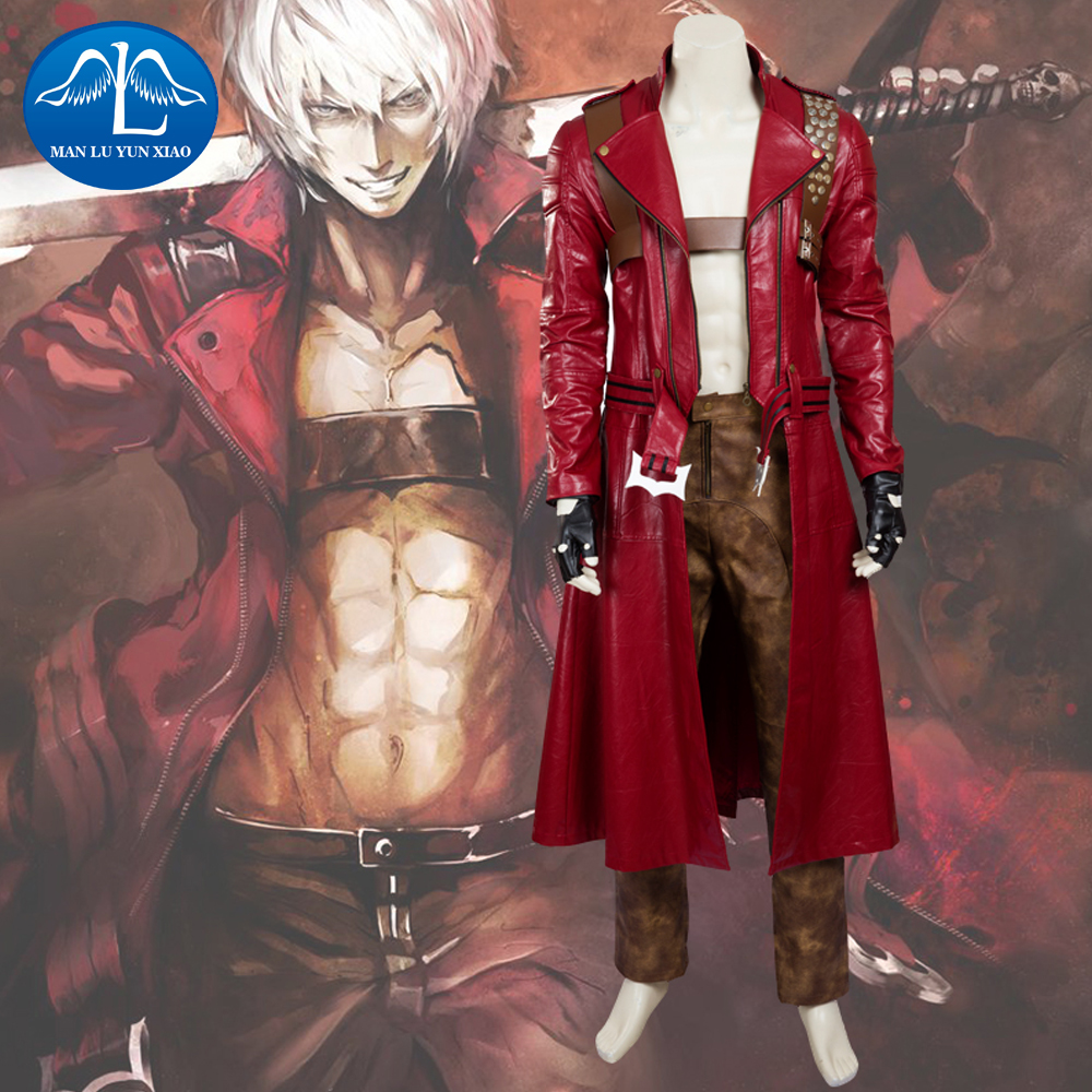 MANLUYUNXIAO New Men's Devil May Cry Costume Dante Costume Deluxe Outfit Halloween Cosplay Costume For Men Custom Made