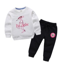 BOTEZAI Children Boys Clothes 2 pcs Suit Spring Autumn Long Sleeve Pink Panther Set For Childrens Baby