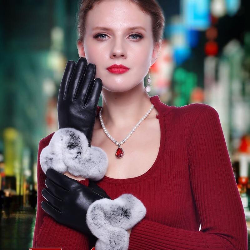Trendmarkierung Frauen Verdickung Winter Handschuhe Mode Warme Verdicken Elegante Pu Leder Hohe Qualität Faux Pelz Handgelenk Warme Frauen Leder Handschuhe BerüHmt FüR AusgewäHlte Materialien, Neuartige Designs, Herrliche Farben Und Exquisite Verarbeitung