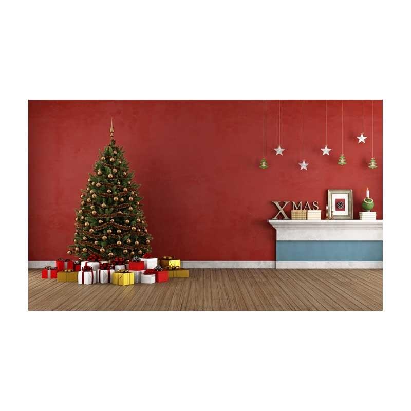 Fotografia Christmas background fabric red wall and Chrismas tree ...