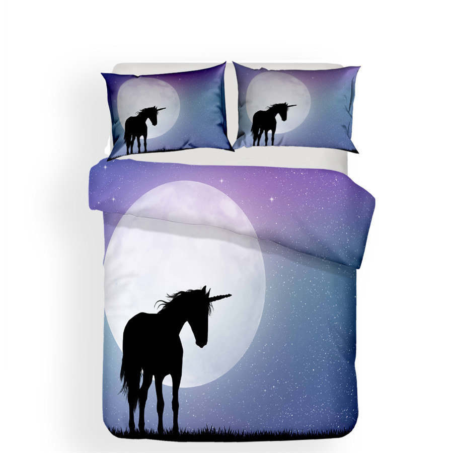 Bedding Set 3D Printed Duvet Cover Bed Set Unicorn Home Textiles For Adults Lifelike Bedclothes With Pillowcase DJS12