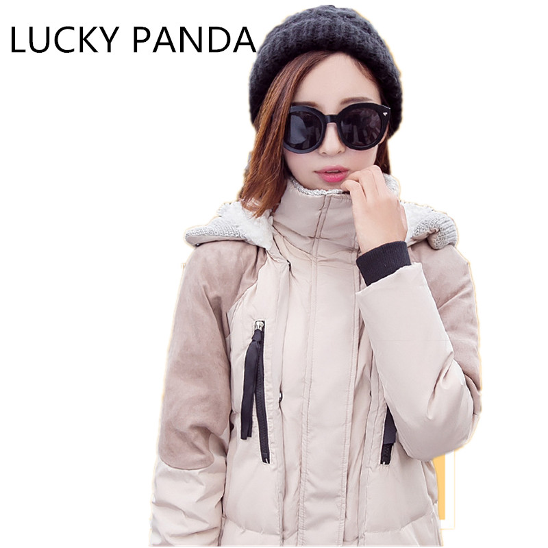 LUCKY PANDA 2016 WOMAN  winter warm down in the long section of cotton thickened coat coat lady couple LKB179 sky blue cloud removable hat in the long section of cotton clothing 2017 winter new woman