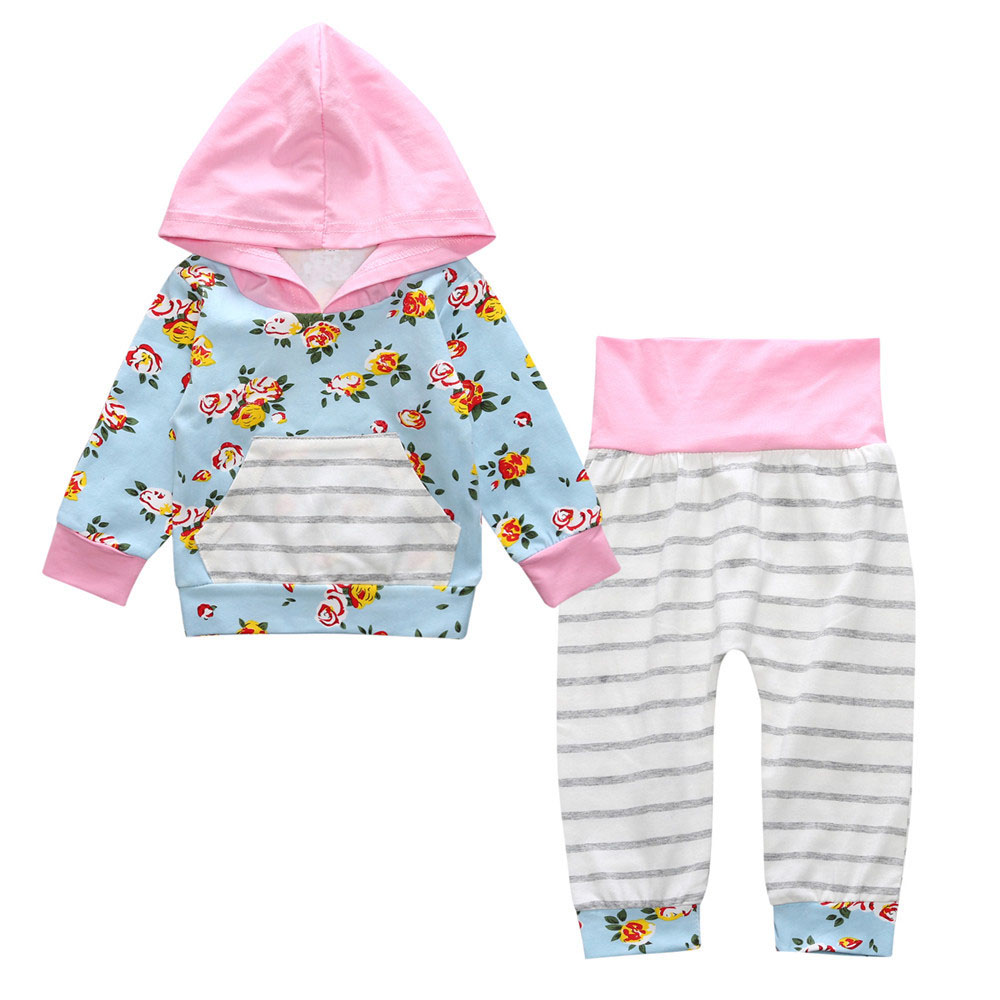 2017 Sping Baby clothing set Baby Girls clothes Hooded Tops Pants Baby Girls 2Pcs Set Floral