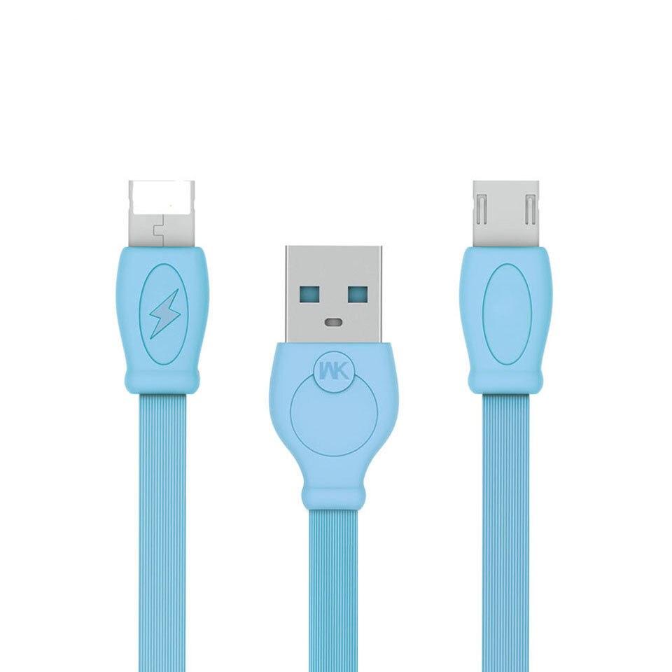 Daten Kabel für iPhone 6/7/8 für Micro USB 2 in 1 Kabel 2.4A Schnelle Lade WK serie flache Kabel Daten Transfer Ladegerät Kabel REMAX