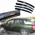 4 unids Ventanas Deflectores Vent Viseras Lluvia Guardia Parasol Oscuro Para Jeep Compass 2007-2014
