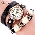 Duoya Marca Relojes de Las Mujeres Vestido de Relojes de pulsera de Moda de Cuero Casual de Lujo de Perlas de Oro Muchacha de Las Mujeres Horas Reloj de Pulsera de Mujer