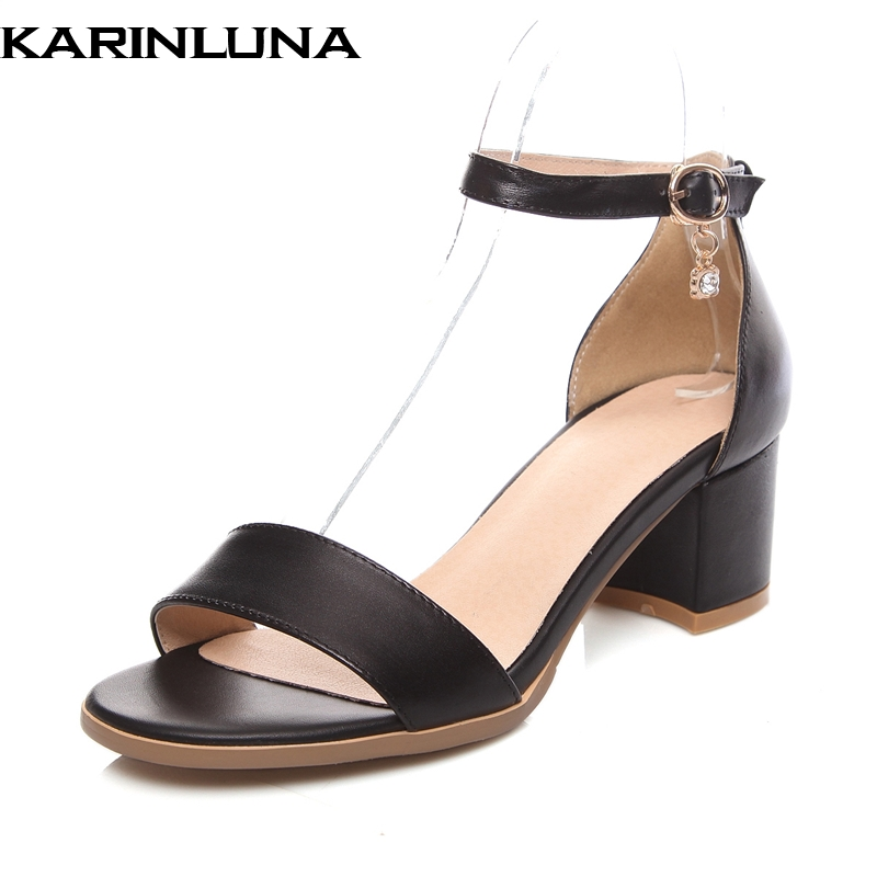 Karinluna Cow Leather New Open Toe Buckle Strap Women Shoes Woman Chunky Heels Summer Sandals Large Size 33-43 kindfire gu10 3 x 1w 220lm 3500k 3 led warm white light spotlight silver write ac 85 265v