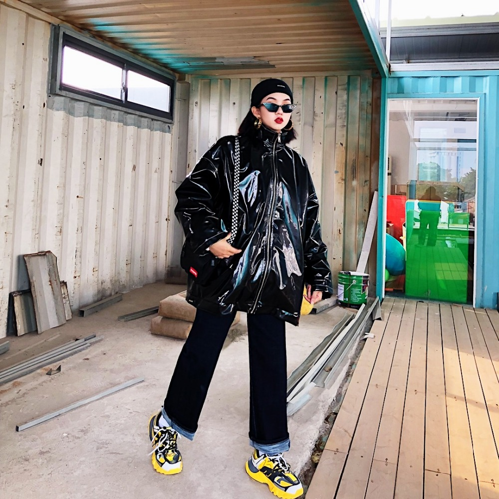 Lâche Velours Rue Col Coton Icon Clip Veste Bf hop Hip Beau Vestes longueur Couture Moyen Alphabet Manteaux 6Urfz6qw