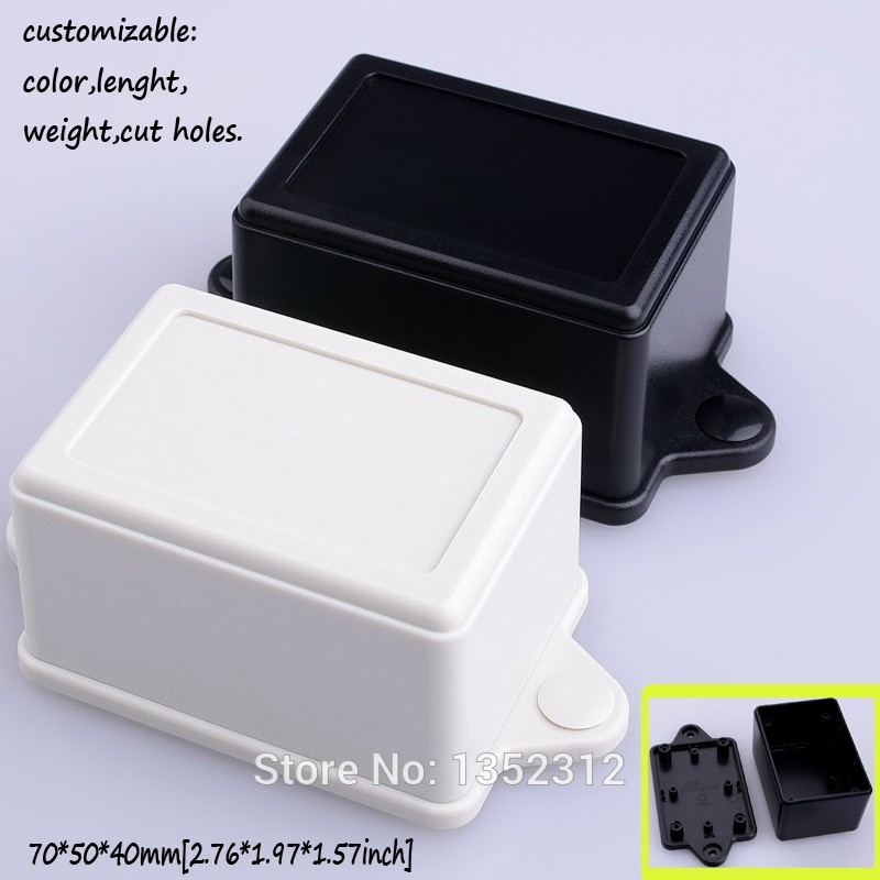 25 pcs/lot 70*50*40mm plastic enclosure wall mount PLC electronic case led driver box small housing DIY project box with ears