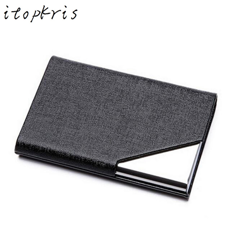 Itopkris Business ID Credit Card Holder For Women Men Fashion Brand Metal Aluminum Card Case PU Leather  Porte Carte business card holder women vogue thumb slide out stainless steel pocket id credit card holder case men