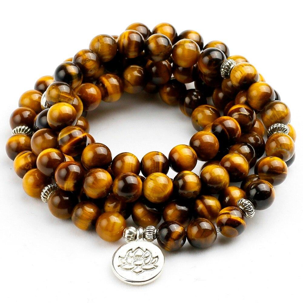Natürliche A Grade Tigerauge 108 Mala Armband Om Buddhistischen armband 8 MM Perlen Armband Männer Hohe Qualität Yoga Frauen Stein schmuck