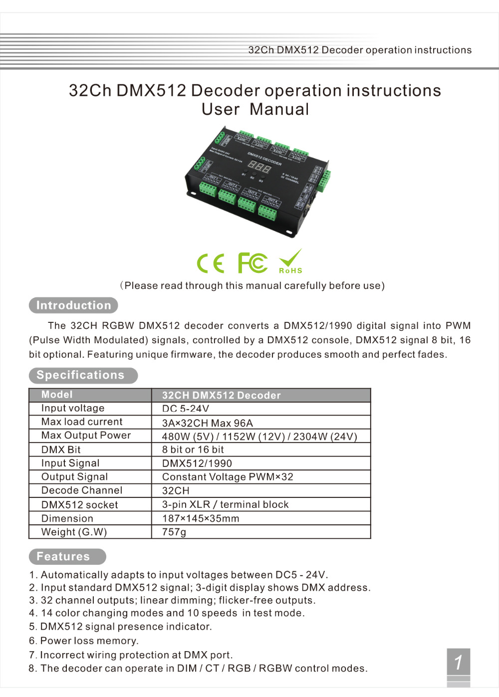 32 Channel 96A RGBW DMX 512 LED Decoder Controller DMX Dimmer DC5 24V RGBW RGB LED light 8 Bit/16 Bit - 2