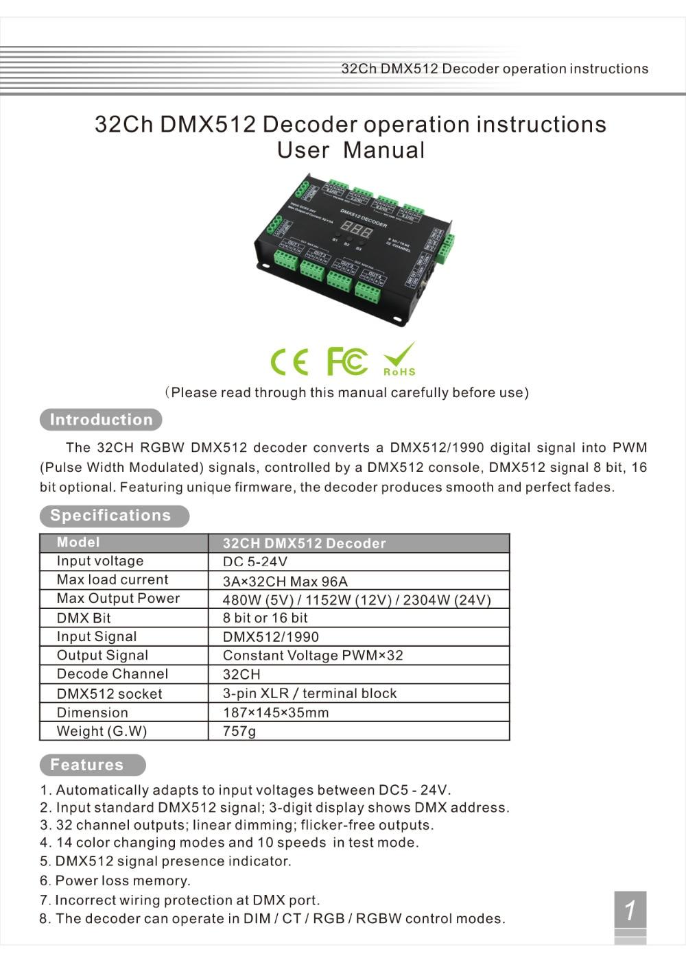 Aliexpress.com  Buy 32 Channel 96A RGBW DMX 512 LED Decoder Controller DMX Dimmer DC5 24V RGBW RGB LED light 8 Bit/16 Bit from Reliable dmx 512 suppliers ...  sc 1 st  AliExpress.com : dmx xlr wiring - yogabreezes.com