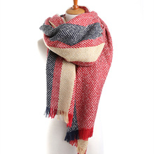 2016 fashion designer Women Classic Cashmere Scarf Winter Warm Soft Striped Shawl Wrap striped scarf Women scarves (WJ-284)