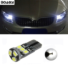 BOAOSI 1x led T10 2835 SMD canbus car Parking Light bulbs with projector lens for Skoda Superb Octavia A7 A5 2 Fabia Rapid Yeti
