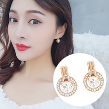 2019 New S925 Korean Temperament Women Earring Water Drill Circle Simple Delicate Red Ear Nail